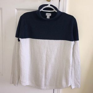Blue and white turtle neck sweater